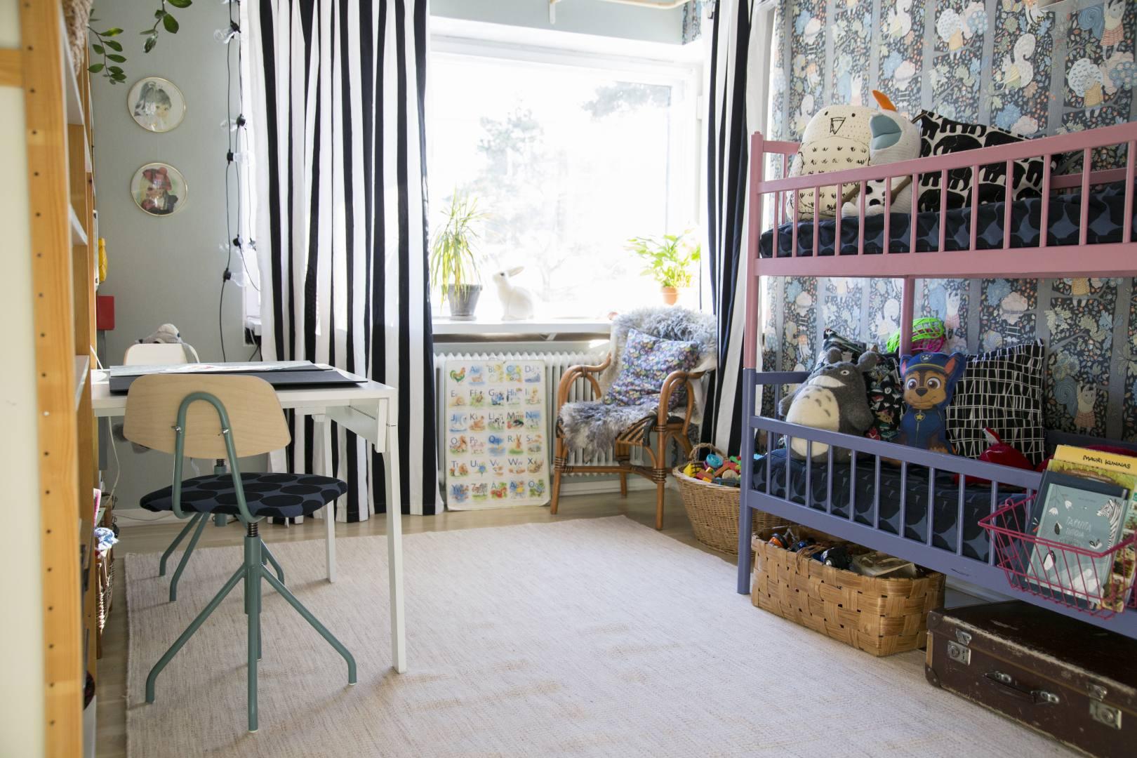 ©Lahiomutsi Lastenhuone Kidsroom Childrens Room Remontti Tapetti BarasTapeter Scandinavian Desigingers Mini, 6252 Charlie Linen Jade Lundia Entisointi-3843